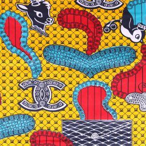 Craftine Tissu Wax Africain N°309 Biches et oiseaux Bleus et rouges sur fond Jaune - Par 50 cm