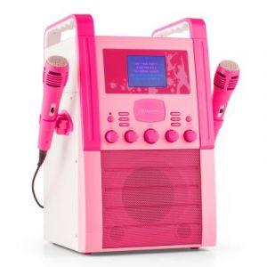 Auna KA8P-V2 PK Chaîne karaoké Lecteur CD AUX 2 micros -rose