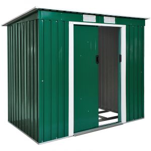 TecTake Abri Maison Cabane de Jardin de Rangement en Métal 2,7 m² Vert