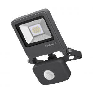 Ledvance Osram Projecteur LED détecteur de mouvement, ENDURA FLOOD Sensor / 10 W, 220…240 V, blanc chaud, 3000 K, aluminium, IP44 - Dunkelgrau