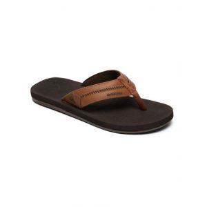 Quiksilver Coastal Oasis Deluxe - Sandales en cuir pour Homme - Marron