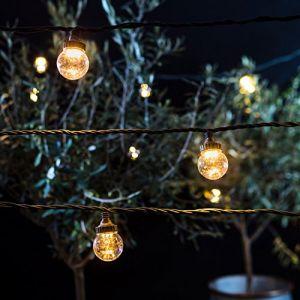 Lights4Fun Guirlande Guinguette Extérieure Raccordable avec 20 Globes Transparents aux LED Blanc Chaud, Série PRO