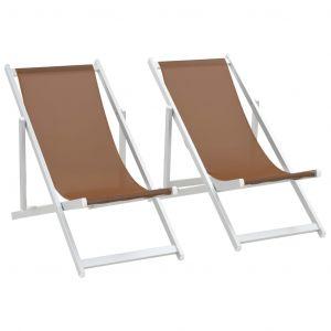 VidaXL Chaises de plage pliables 2 pcs Marron Aluminium et textilène