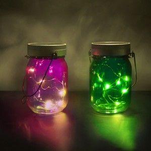 ThumbsUp! Fairy Jars Bocaux Illuminé Rose/Vert 20x9x14cm - Pack de 2