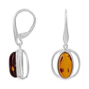 Cleor Boucles d'oreilles Pendantes en Argent 925/1000 et Ambre Orange