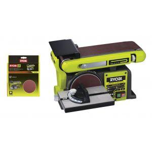 Ryobi Pack Ponceuse à bande et à disque stationnaire 370W RBDS4601G - 10 disques diamant auto agrippants 150mm SD150A10