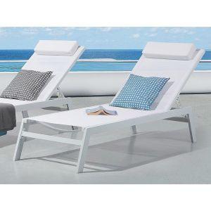 Beliani Catania II - Transat de jardin, chaise longue inclinable aluminium