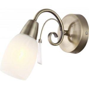 Globo Lighting Applique laiton vieilli L22 x l10 x h18 cm - Applique laiton vieilli - verre optique albâtre - Blanc - 100x180 cm - OH:220 - Ampoule non incluse