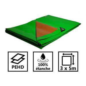 Toile de toit pour tonnelle et pergola 250g/m² verte et marron 3x5 m