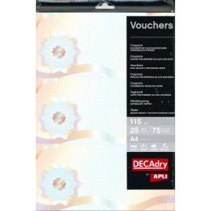 DECAdry OSD4066 - Etui de 75 coupons type voucher, A4, 115 g/m² (3 coupons par feuille)