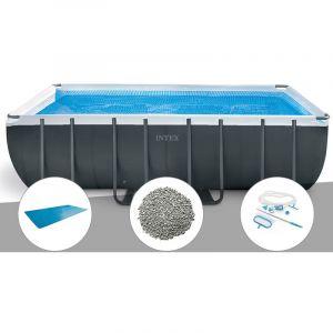 Intex Kit piscine tubulaire Ultra XTR Frame rectangulaire 5,49 x 2,74 x 1,32 m + Bâche à bulles + 20 kg de zéolite + Kit d'entretien