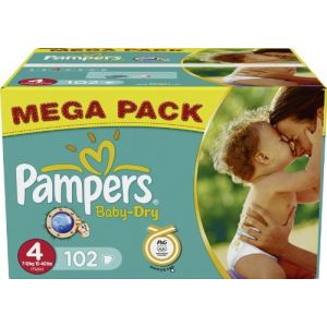 Pampers Baby Dry taille 4 Maxi (7-18 kg) - Mega pack x 102 couches