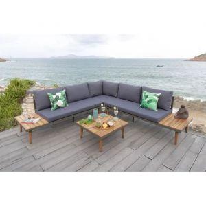 CANAS Salon de jardin 6 places en bois d\'acacia - canapé d\'angle modulable  avec une table basse - Comparer avec Touslesprix.com