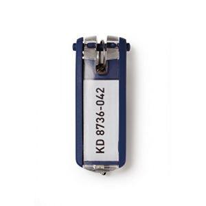 Durable 195701 KEY CLIP Porte-clés avec Porte-étiquette Personnalisable pour armoire à clés KEYBOX, Bleu Foncé (Lot de 6)