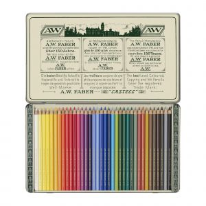 Faber-Castell Boîte en métal de 36 crayons polychromos