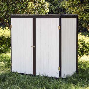 wiltec Armoire de jardin en bois blanc anthracite 2 portes 136x58x127cm Armoire à outils