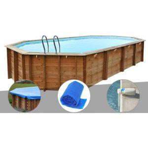 Sunbay Kit piscine bois Sevilla 8,72 x 4,72 x 1,46 m + Bâche hiver + Bâche à bulles + Alarme