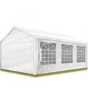 Intent24 Tente de réception 4x6 m pavillon blanc bâche PE épaisse de 180 g/m² imperméable tente de jardin.FR