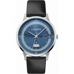 Lacoste Montre 2011034 - boitier acier rond cadran bleu bracelet cuir noir Homme