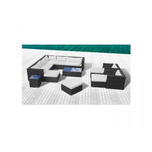 Stalla - Salon de jardin 13/14 personnes modulable en résine tressée
