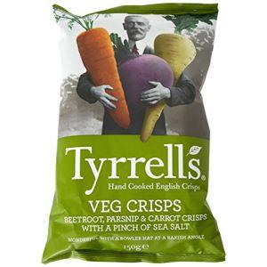 Tyrrell's Chips Légumes Betterave/Panais/Carotte/Pincée Sel 150 g