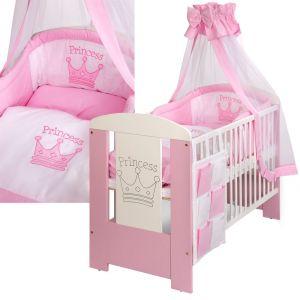 LCP Kids 97 - Lit bébé Princess 120 x 60 cm avec linge de lit