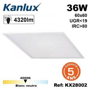 Kanlux Dalle LED BRAVO 36W UGR19 Cadre Blanc 600x600mm Blanc Neutre 4000K