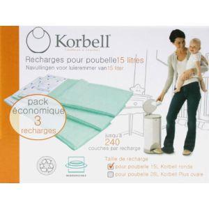 Korbell KR250DR3B - 3 recharges  pour poubelle à couche 15 L