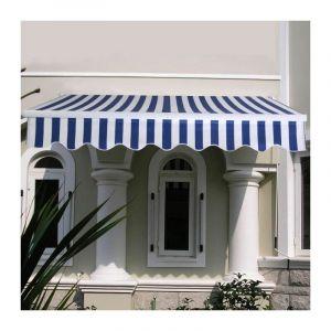 COSTWAY Store Banne de Balcon Rétractable 3 X 2,5M avec Tissu Résistant aux UV et à l'Eau, Cadre en Al ini pour Terr e