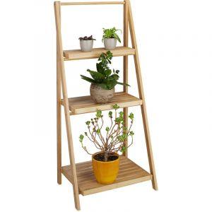 Image de Relaxdays Escalier étagère pour fleurs en bambou 3 étages pliant rangement bois plantes pliable nature HxlxP: 99 x 45 x 32 cm, nature - 4052025202712