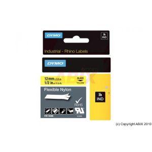 Dymo 18490 - Rhino Band IND Nylon 12 mm x 3,5 m noir/jaune