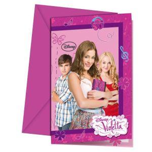 6 cartes d'invitation et enveloppes Violetta