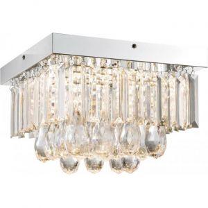 Globo Éclairage plafonnier DEL 18W luminaire lampe chrome cristaux salle de séjour LED