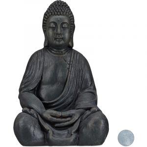 Relaxdays Statue de Buddha figurine de Bouddha décoration jardin sculpture céramique Zen 50 cm, gris foncé
