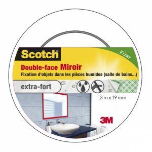 Scotch Double face blanc fixation miroir - Longueur 3 m - Largeur 19 mm - Blanc