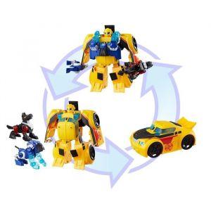 Hasbro Transformers Rescue Bots - Robot Electronique Bumblebee Secouriste Voiture de course 25cm et 2 Animaux - Jouet transformable 2 en 1