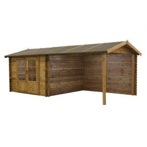 Rochester - Abri de jardin et carport en bois traité classe III 28 mm 17,5 m2