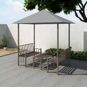VidaXL Chapiteau de jardin avec table et bancs 2,5x1,5x2,4m Anthracite