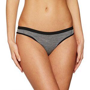 Icebreaker Siren Bikini Femme, Gritstone HTHR/Black, FR : L (Taille Fabricant : L)