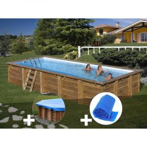 Sunbay Kit piscine bois Braga 8,00 x 4,00 x 1,46 m + Bâche hiver + Bâche à bulles