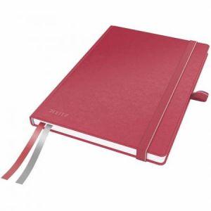 Leitz 4477-00-25 - Carnet broché Complete A5, 160 pages ivoire 96 g/m² quadrillées 5x5, élastique de fermeture, couv. rigide rouge