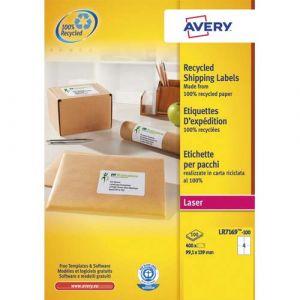 Image de Avery-Zweckform Boîte de 400 étiquettes adresse laser recyclées blanc 99,1 x 139 mm LR7169-100