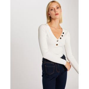 Morgan 201-MBANBI Pull, Blanc (Off White Off White), Large (Taille Fabricant:TL) Femme