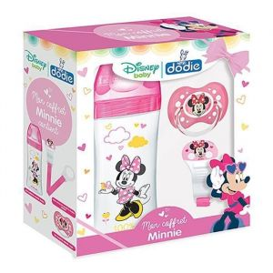 Dodie Coffret Minnie (1 biberon Initiation+ 330 ml rose Minnie, 1 sucette anatomique 18 mois+, 1 attache sucette)