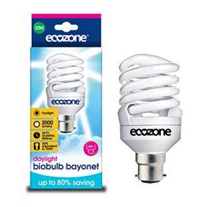 Ecozone Biobulb Ampoule Basse Consommation, Baionnette B22 - économie: 30W Equivalant à une Ampoule Incandescente 150w - 2000 Lm - Blanc Jour 6400k - Économie d'énergie supérieure à 80%, idéal pour les personnes souffrent de troubles affectifs saisonniers