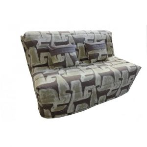 Inside75 Banquette BZ convertible AXEL motifs taupe 160*200cm matelas confort BULTEX