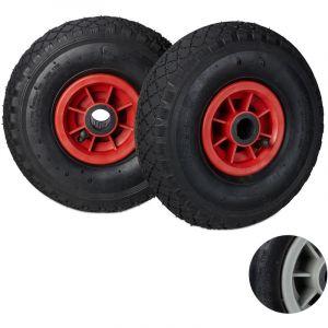 Relaxdays Roue de brouette caoutchouc 200 kg, roue de rechange axe, 260x85 cm essieu 3.00-4 chariot diable, noir rouge