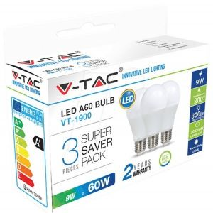 V-TAC Lot de 3 ampoules LED E27 9W 4000K blanc naturel