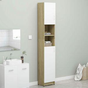 VidaXL Armoire de bain Blanc et chêne sonoma 32x25,5x190 cm Aggloméré
