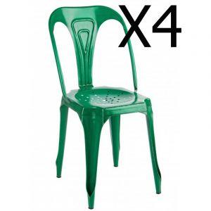 Pegane Lot de 4 chaises en métal coloris Vert - Dim : L 42 x P 48 x H 84 cm
